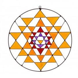 Sri yantra Mandala atrapasol geometría sagrada (hecho a mano 18cm)